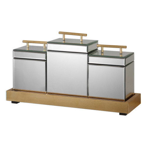 """Set of 4 Beveled Mirrored Boxes and Metallic Gold Tray 20"""" - IMAGE 1"""