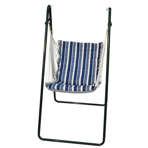 """64"""" Blue and White Tropical Palm Striped Swing Chair and Stand Combination - IMAGE 1"""