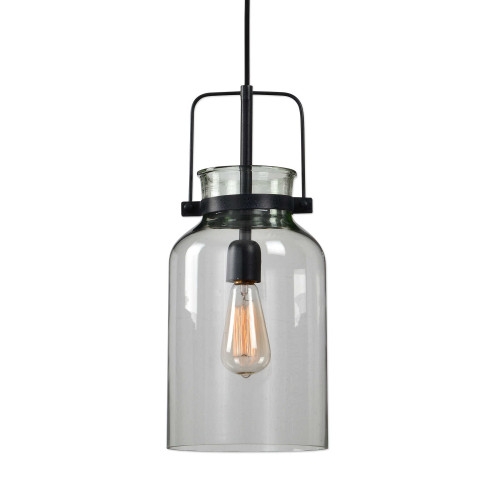 """18"""" Textured Black Iron with Clear Glass Mini Hanging Pendant Ceiling Light Fixture - IMAGE 1"""