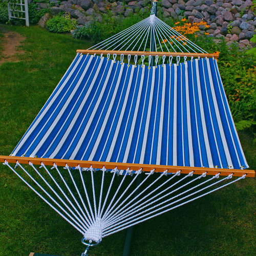 """82"""" x 55"""" Blue and White Tropical Palm Striped Hammock - IMAGE 1"""