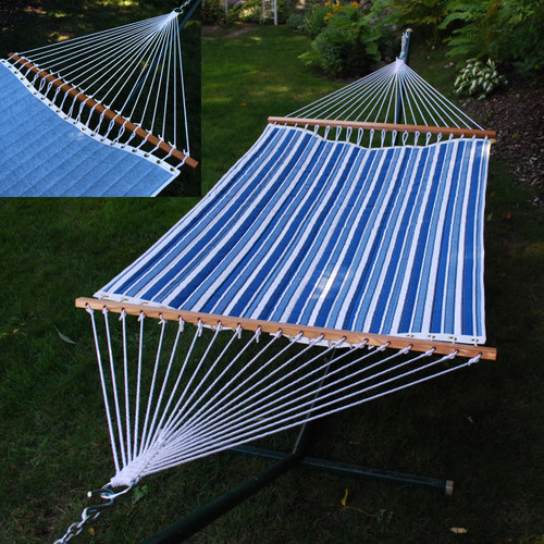 """82"""" x 55"""" Blue and White Reversible Quilted Tropical Palm Hammock - IMAGE 1"""