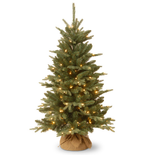 4' Pre-lit Potted Burlap Artificial Christmas Tree – Clear Lights - IMAGE 1