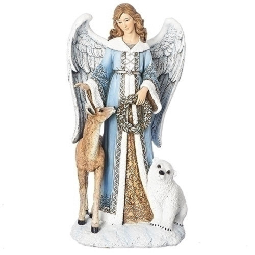 "13.25"" Blue and White Angel with Deer and Bear Table Top Decorative Figure - IMAGE 1"