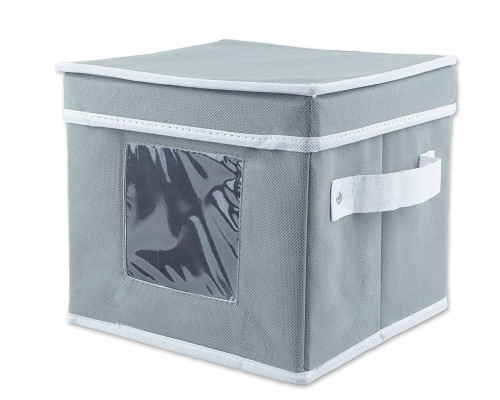 """8"""" Gray and White Solid Pattern Saucer Storage Bin with Viewing Window and Handle - IMAGE 1"""