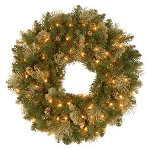 "24"" Pre-Lit Carolina Pine Christmas Wreath-Clear Lights - IMAGE 1"