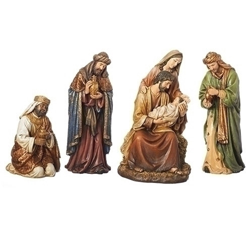 """16"""" Antique Styled 4 Piece Textured Holy Family Nativity Tabletop Decor - IMAGE 1"""