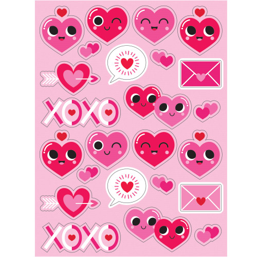 """Pack of 48 White and Pink Decorative Valentine Emoji Heart Stickers 8.66"""" - IMAGE 1"""