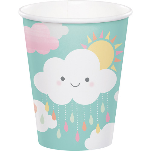 Club Pack of 96 Yellow and Pink Sunshine Baby Shower Hot and Cold Disposable Party Cups 9 OZ - IMAGE 1