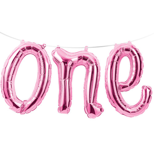 """Club Pack of 12 Pink """"One"""" Party Foil Balloon Banners 60"""" - IMAGE 1"""