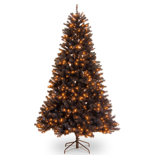 6.5' Pre-Lit North Valley Black Spruce Artificial Christmas Tree - Orange Lights - IMAGE 1