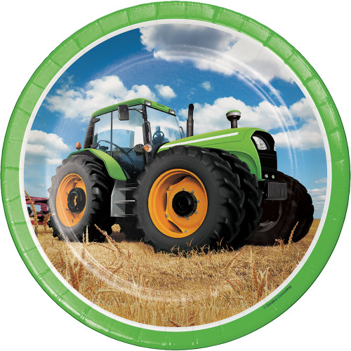 """Club Pack of 96 Green Farmers Tractor Truck Dinner Party Plates 9"""" - IMAGE 1"""