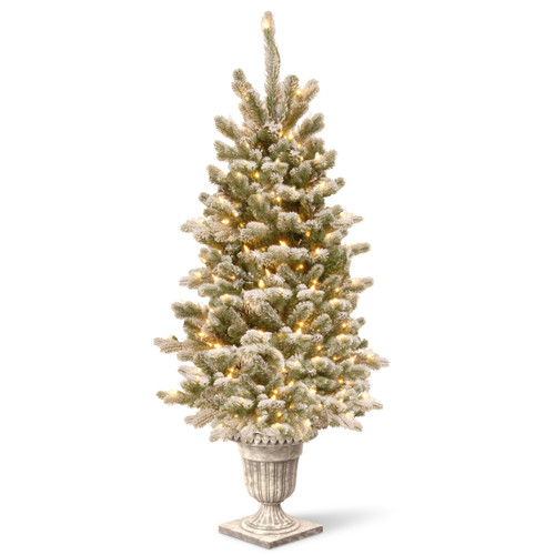 4' Pre-Lit Snowy Sheffield Spruce Artificial Christmas Tree – Clear Lights - IMAGE 1