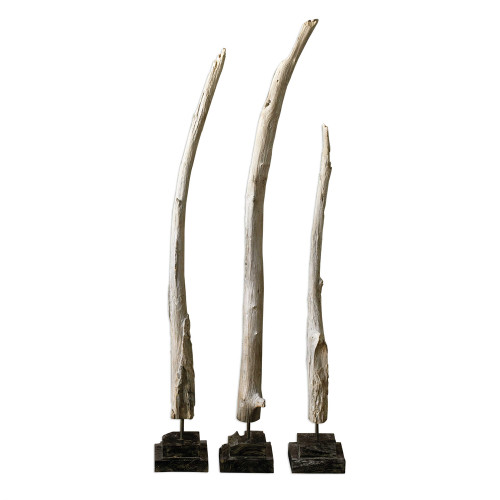 Set of 3 Teak Branches Statues - IMAGE 1