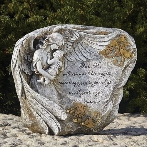 "Angel and Baby with Psalms 91:11 Verse Garden Stone Decoration 8"" - IMAGE 1"