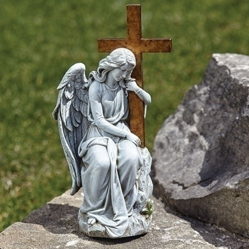 """13"""" Outdoor Garden Statue Angel with Cross on Stone - IMAGE 1"""