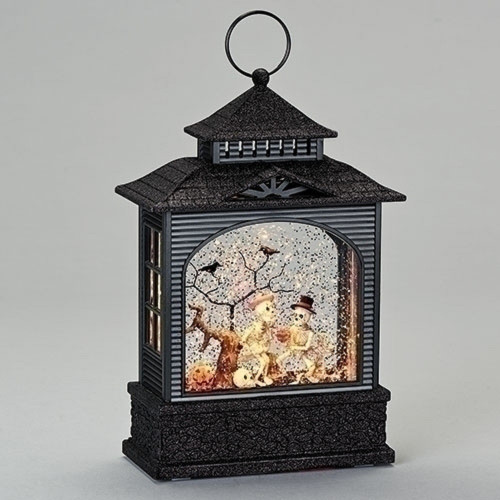"11"" Black and Gray Halloween Flat Swirl Lantern - IMAGE 1"