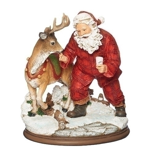 """8.5"""" Santa Claus Feeding the Deer with Cookie and Milk Figurine Decoration - IMAGE 1"""