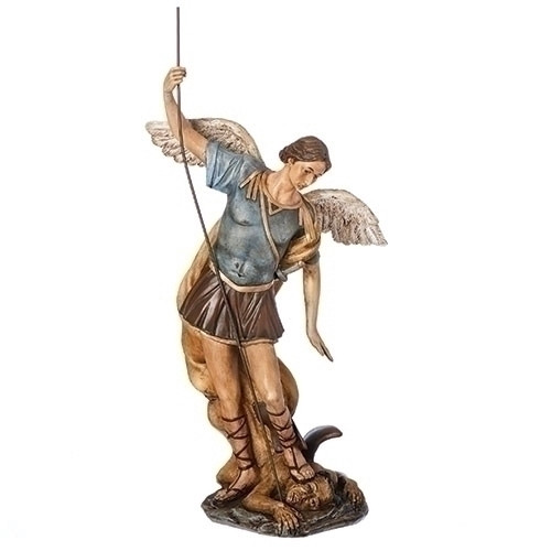 """Antiqued St. Michael and the Devil Tabletop Statue 18.5"""" - IMAGE 1"""