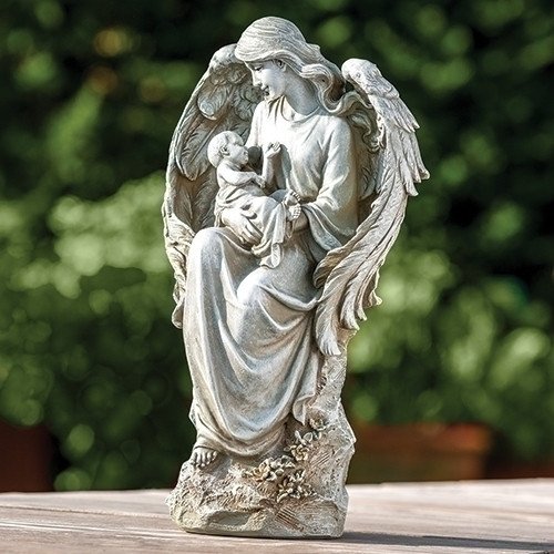 """Stone Angel with Baby Statue 16.5"""" - IMAGE 1"""