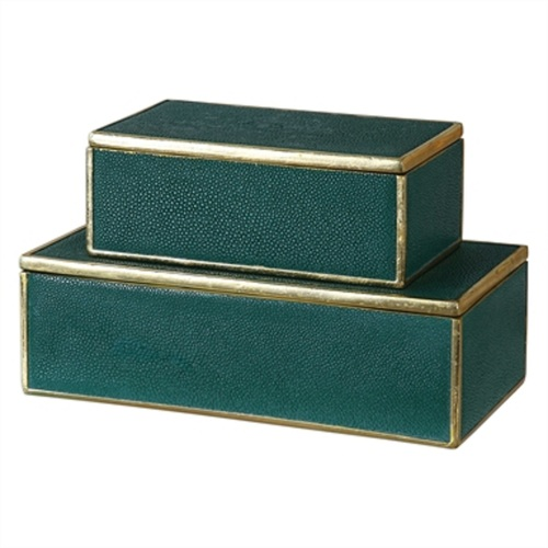 "Set of 2 Emerald Green Decorative Boxes 5"" - IMAGE 1"