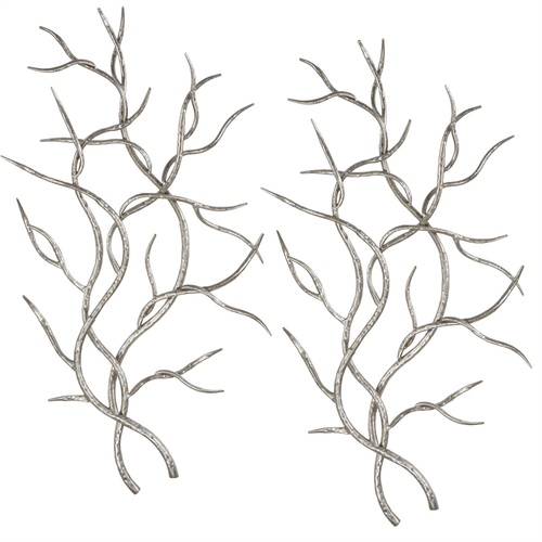 """Set of 2 Silver Branches Metal Wall Decor 36.5"""" - IMAGE 1"""