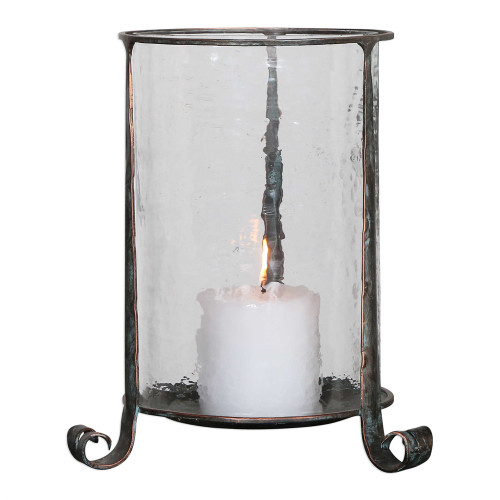 """13"""" Nicia Clear and Bronze Pillar Candle Holder - IMAGE 1"""