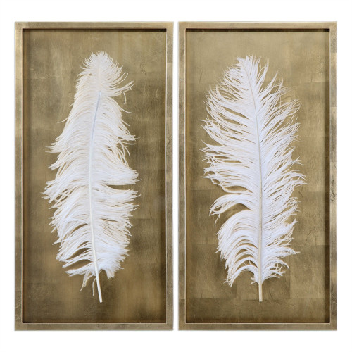 """Set of 2 White Feathers in Wood Box Wall Decor 33.5"""" - IMAGE 1"""