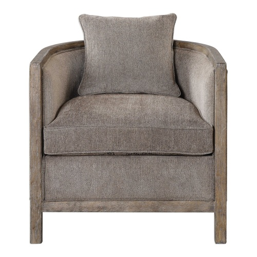 """Gray Chenille Neutral Flaxen Fabric Chair 29"""" - IMAGE 1"""