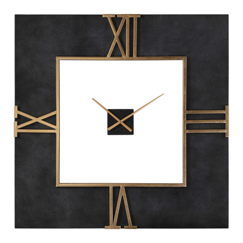 """39.75"""" Mudita Textured Black Concrete Square with Antique Gold Leaf Wall Clock - Battery Operated - IMAGE 1"""
