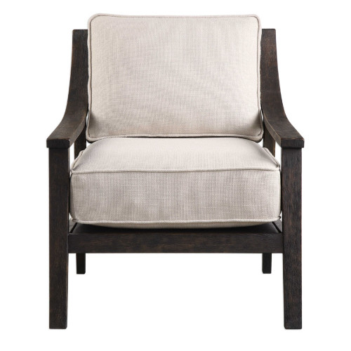 """31"""" Neutral Linen Blended Fabric Beige Chair - IMAGE 1"""