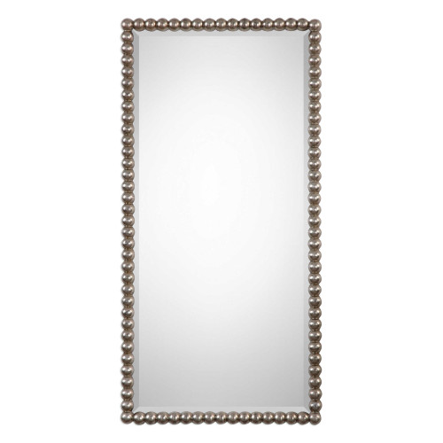 """32"""" Antique Silver Leaf Finished Beaded Profile Mirror - IMAGE 1"""