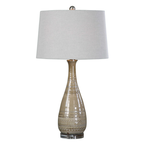 "Light Taupe Embossed Ceramic Table Lamp with Round Gray Shade 31"" - IMAGE 1"
