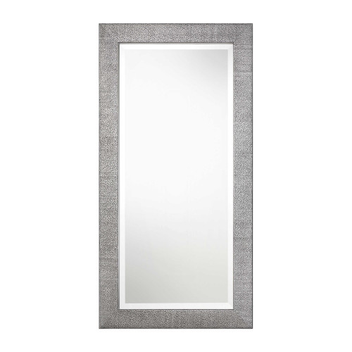 "48"" Metallic Silver Textured Wood Frame Rectangular Wall Mirror - IMAGE 1"