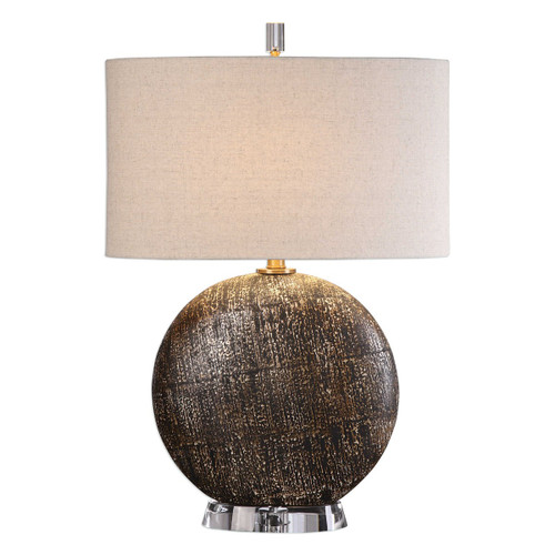 """28"""" Rustic Bronze and Ivory Table Lamp - IMAGE 1"""