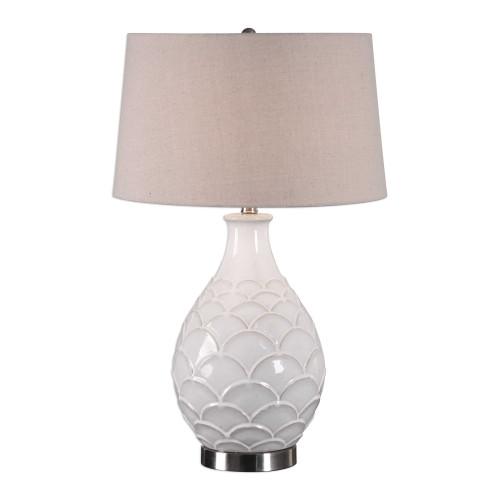"27"" Distressed Glossed White Glaze Ceramic Table Lamp - IMAGE 1"