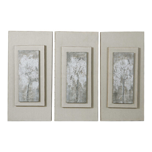 "Set of 3 Triptych Trees Hand Painted Art 35.75"" - IMAGE 1"