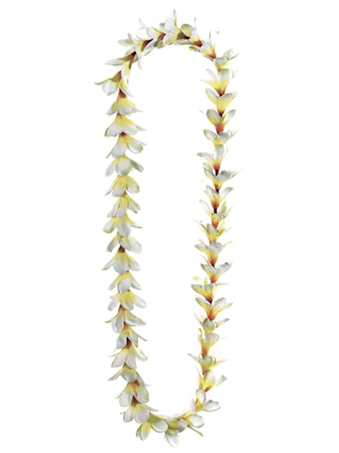 "Club Pack of 24 Artificial Cream Frangipani Silk Flower Leis 48"" - IMAGE 1"