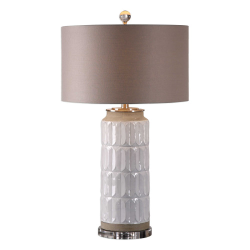 """30"""" Lightly Distressed Gloss White Embossed Ceramic Table Lamp - IMAGE 1"""