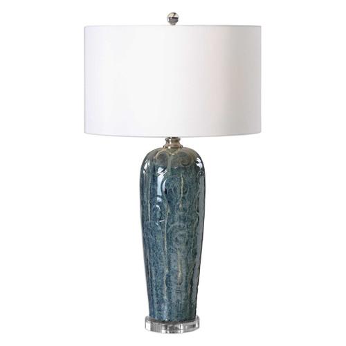 "Heathered Blue Ceramic Table Lamp with Round White Shade 32"" - IMAGE 1"