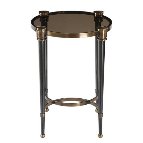 """24.5"""" Brushed Black Tapered Legs Accent Table - IMAGE 1"""