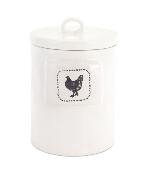 """8.25"""" Chicken Canister (Set of 2) White, Black - IMAGE 1"""