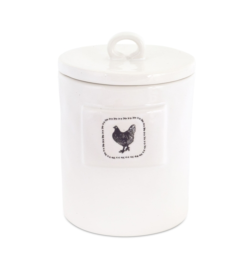 """6.5"""" Chicken Canister (Set of 4) White, Black - IMAGE 1"""