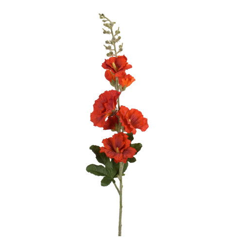 """Set of 6 Red and Green Artificial Hollyhock Christmas Sprays 36"""" - IMAGE 1"""