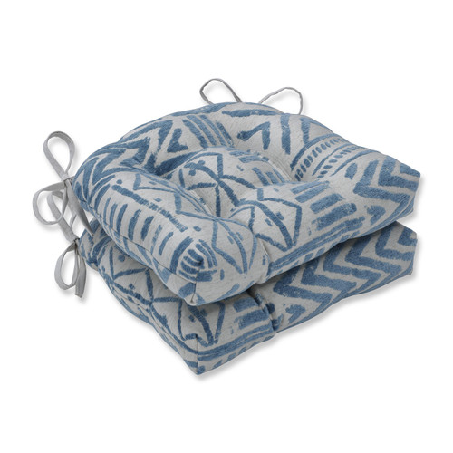 """Set of 2 Blue Diamond Chenille Reversible Chair Cushions with Ties 16"""" - IMAGE 1"""