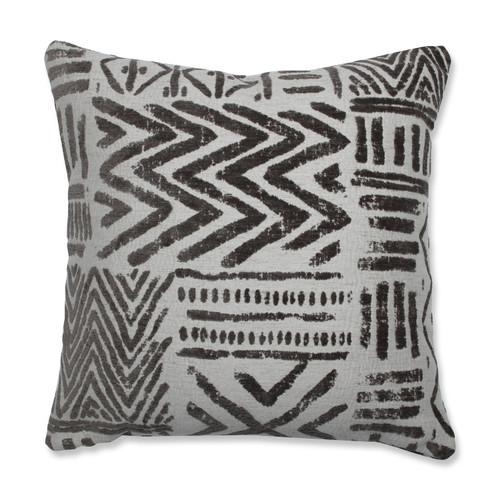 "18"" Gray Chenille Contemporary Throw Pillow - IMAGE 1"