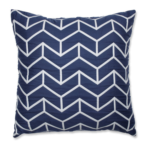 """18"""" Navy Blue and White Geometric Shape Throw Pillow - IMAGE 1"""