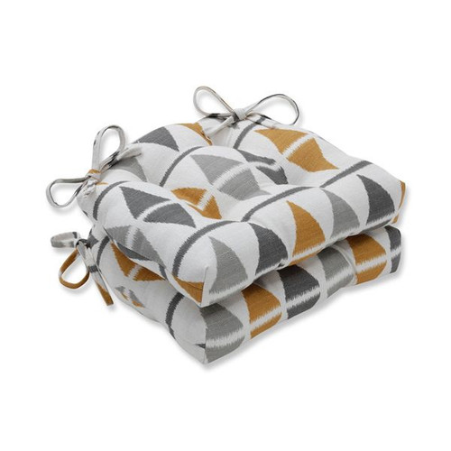 """Set of 2 Shades of Gray and Yellow Triangle Accented Reversible Chair Pads 16"""" - IMAGE 1"""