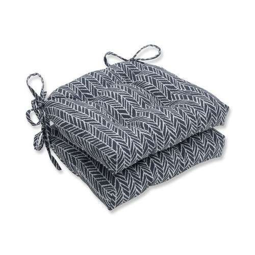 """Set of 2 Gray and White Diagonal Lined Accented Reversible Chair Pads 16"""" - IMAGE 1"""