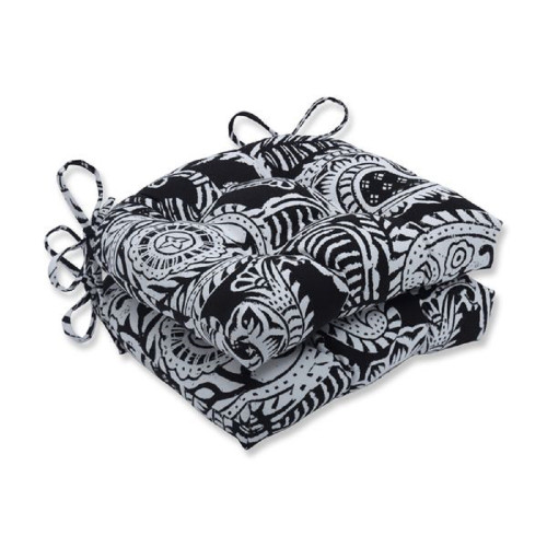 """Set of 2 Black and White Paisley Design Reversible Chair Pads Indoor/Outdoor 16"""" - IMAGE 1"""