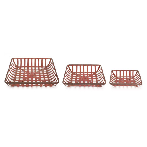 "Set of 3 Red Checked Distressed Storage Tray 18"" - IMAGE 1"